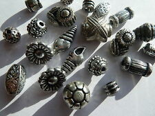 50  Mixed Job Lot Antique Silver Acrylic Beads 7mm - 20mm