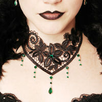 Victorian gothic lace choker necklace goth Emerald green NOCTURNE steampunk