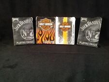 4 Decks Bicycle Playing Cards - 2 Harley Davidson - 2 Jack Daniel's Old No. 7