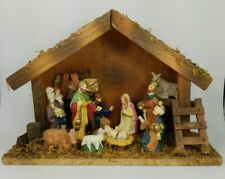 """Christmas Nativity Manger Scene - Vintage Ceramic and Wood and Moss About 7.5"""" H"""
