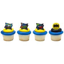 12 ct  BATMAN & JOKER Comic Book POW! WHOOSHH! Birthday Party Cupcake Picks Ring