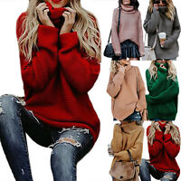 Womens Winter Loose Knitwear Sweater Turtle Neck Jumper Pullover Party Coat Tops