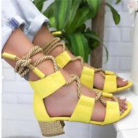 Damen High Heels Pumps Riemchen Absatzschuhe Sandaletten Bandage Sandalen Sommer
