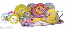 NEW 15Pc Schylling CHILDRENS TEA Playset Plate Cup Teapot Tray Tin Metal Dishes