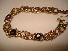 Vintage Goldette NY Victorian Revival Link Charm Bracelet
