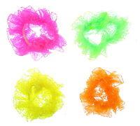 neon bright coloured chiffon scrunchies