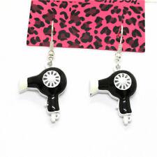 Betsey Johnson Cute Black Enamel Hair Dryer Crystal Women Stand Earrings