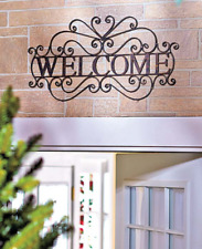 Metal Welcome Wall Plaque Cutout Art Accent Decor Hanging Entryway Sign