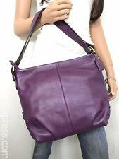 COACH NWT Purple Berry Pebble Leather Shoulder Duffle Hobo #15064 NEW!