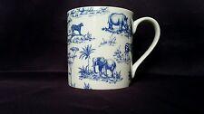 Bone China Mug Blue Safari Animal Pattern Hand Decorated Wales Christmas Gift
