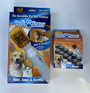 Pedi Paws The Incredible Pet Nail Trimmer With 6 Replacement Heads VGUC