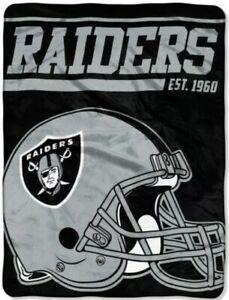 "Las Vegas Raiders EST 1960 NFL Football 46"" x 60""  Super Plush Throw Blanket NEW"