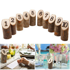 Knurled Wooden Table Number Signs 1-10 Desktop Free-Standing Wedding Decoration