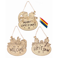 Christmas Colour Your Own Hanging Plaque Let It Snow Welcome Childrens Art Craft