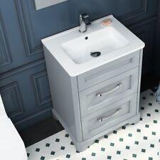 Victorian Grey Oak Bathroom Vanity Basin Washstand Double Drawer Unit with Sink