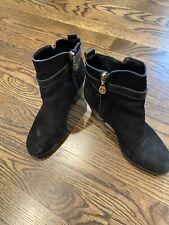 C. Wonder black suede ankle booties, mid heel, size 6 Medium