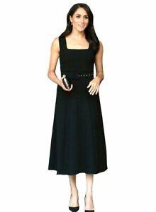 Women's Designer Meghan Markle Style Belted Black Fit And Flare Midi Dress 12 AU