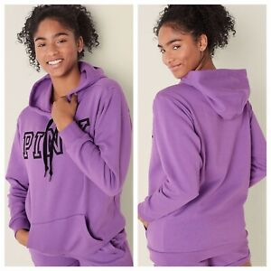 Vs Victorias Secret Pink Everyday Lounge Campus Pullover Hoodie Sweater Top M