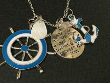 "Nautical Anchor Boat Wheel Sand in Your Toes Charm Tibetan Silver 18"" Necklace"