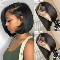 Glueless Malaysian Virgin Remy Human Hair Wig Bob Straight Lace Front Full Wigs