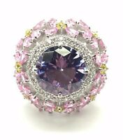 Sterling Silver 925 Round Purple Amethyst Sapphire CZ Cluster Cocktail Ring Sz 7