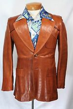 Vtg 60s 70s Unique Brown Leather Disco Mod Fight Club Jacket Coat Small