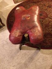 Red Egyptian Camel Saddle-Leather-Wood-Foot-Stool-Ottoman-Bench-Chair-Decor