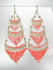 GORGEOUS Salmon Coral Peruvian Crystal Beads Gold Chandelier Dangle Earrings