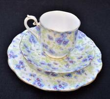 Vintage ROYAL ALBERT Bone China England BLUE PANSY CHINTZ Trio Cup Saucer Plate
