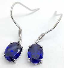 Siberian quartz tanzanite colour Oval Cut drop earrings solid Sterling Silver
