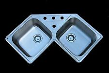 AS139 Amerisink 18G 2 Bowl Topmount Stainless Steel Corner Kitchen Sink 4 Hole
