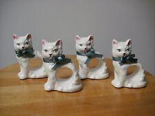 Vintage Set of 4 RGD 1983 Fine Ceramic Cat Napkin Rings COLLECTABLE SET