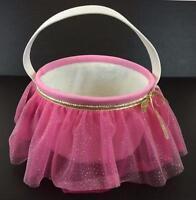 "Ballerina Easter Basket Pink NWT Tulle Dancer 10"" Round Soft Purse Gold Ribbon"