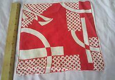 vintage wedding handkerchief hanky cotton red white geometric colorful print
