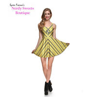Harry Potter Hogwarts House Hufflepuff Crest Stripe Yellow Skater Dress