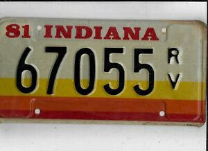 """INDIANA 1981 license plate """"67055 RV"""" ***MINT***RECREATIONAL VEHICLE***"""