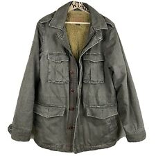 Vintage Men's GUESS Distressed Canvas SMALL Cotton Faux Fur Lined Jacket M43