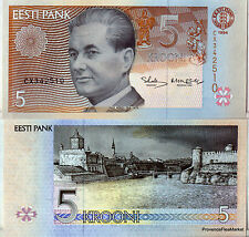 ESTONIA ESTONIA Ticket 5 KROONI 1994 PAUL KERES UNC NEW Pick 74
