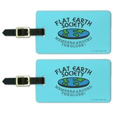 Flat Earth Society Members Around Globe Luggage ID Tags Cards Set of 2