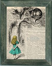 Alice and Wonderland art print on vintage dictionary page 8x10, chesire cat art