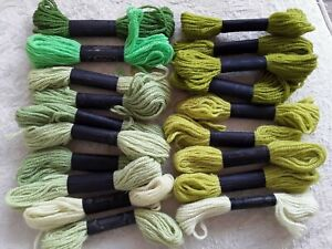 19 Sks Paragon 100% Wool Yarn Needlepoint Crewel Tapestry Green Shades England