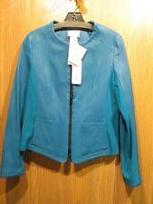 Akris Punto Aqua Blue Lambskin Leather Jacket SIZE 8 NEW $2,300