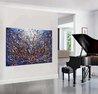 "Vintage Beauty 131 - Painting Jackson Pollock art 72"" Drip Style Blue artwork"