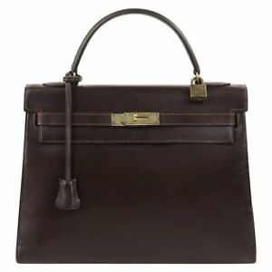 "HERMES Bonwit Teller c.1964 ""Kelly Retourne"" 32 cm Brown Box Calf Leather Purse"