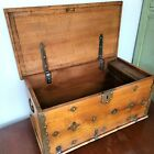 Antique Dovetail Wood Chest W Small Candle Box Metal Side Handles Childs Blanket