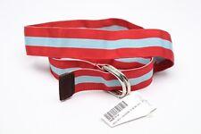 NWT Ben Silver Grosgrain Ribbon Belt M Red Sky Blue Chase Stripe D Ring Buckle