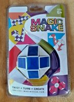Retro Snake Puzzle Magic Cube Twist Toy for Adults and Kids White Blue new