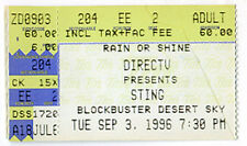 Sting Concert Ticket Sep 3, 1996 Arizona Desert Sky Pavillion