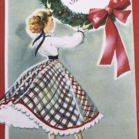Vintage Mid Century Christmas Greeting Card Pretty Lady Plaid Dress With Wreath