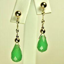 14k solid y/gold 12x8mm briolette natural Green Jade elegant earrings 2.3gram